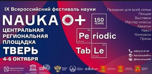 4-6 октября 2019 года в Твери пройдёт IX Всероссийский фестиваль науки NAUKA 0+