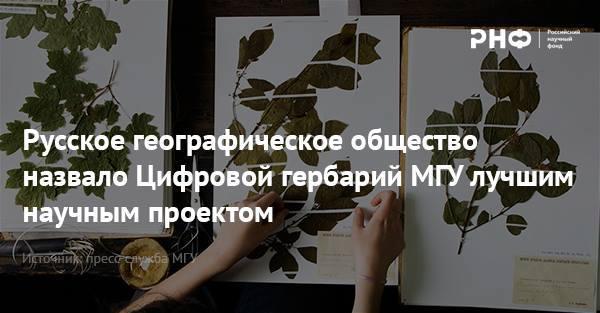 Русское географическое общество назвало Цифровой гербарий МГУ лучшим научным проектом